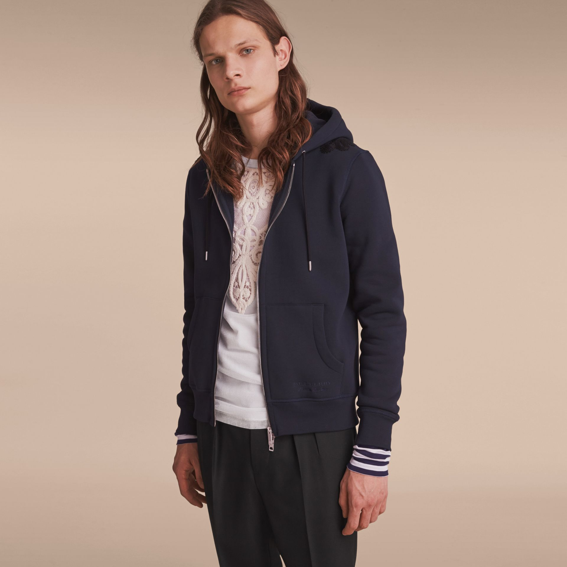 Lace Appliqué Jersey Hooded Top in Dark Navy - Men | Burberry Singapore - gallery image 6
