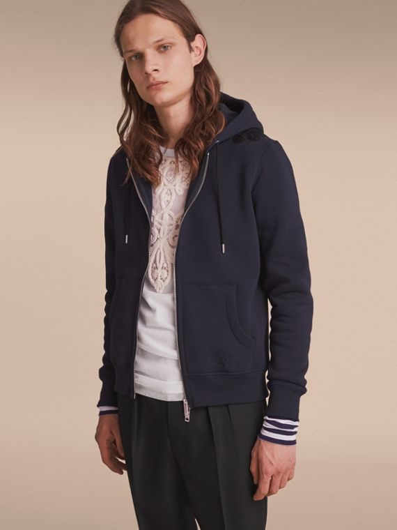 Lace Appliqué Jersey Hooded Top