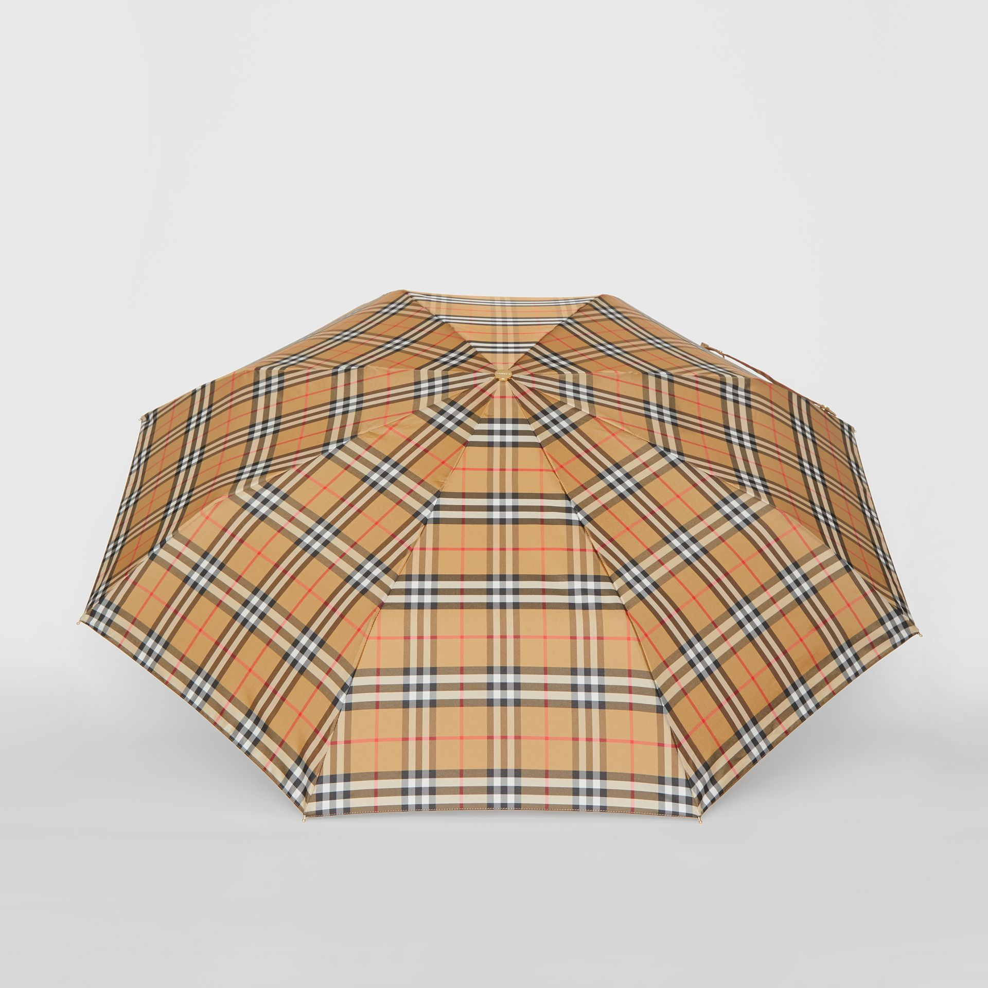 Vintage Check Folding Umbrella in Antique Yellow/limestone | Burberry - gallery image 2