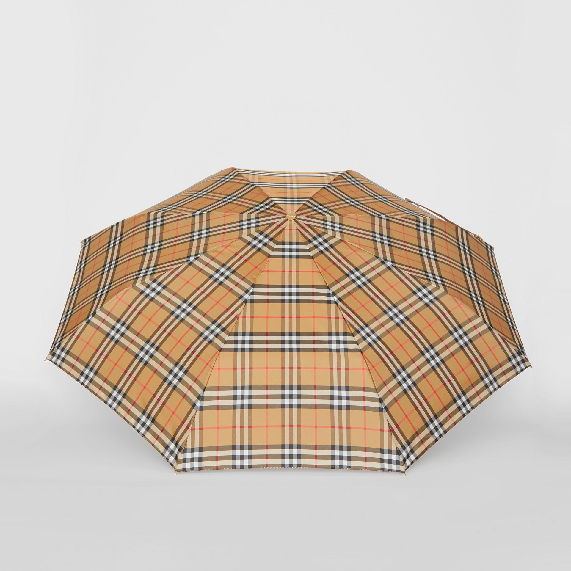 Vintage Check Folding Umbrella in Antique Yellow/limestone | Burberry United Kingdom - gallery image 2