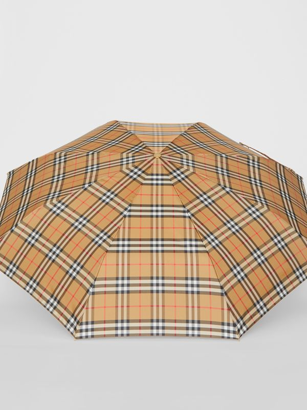 Vintage Check Folding Umbrella in Antique Yellow/limestone | Burberry United States - cell image 2