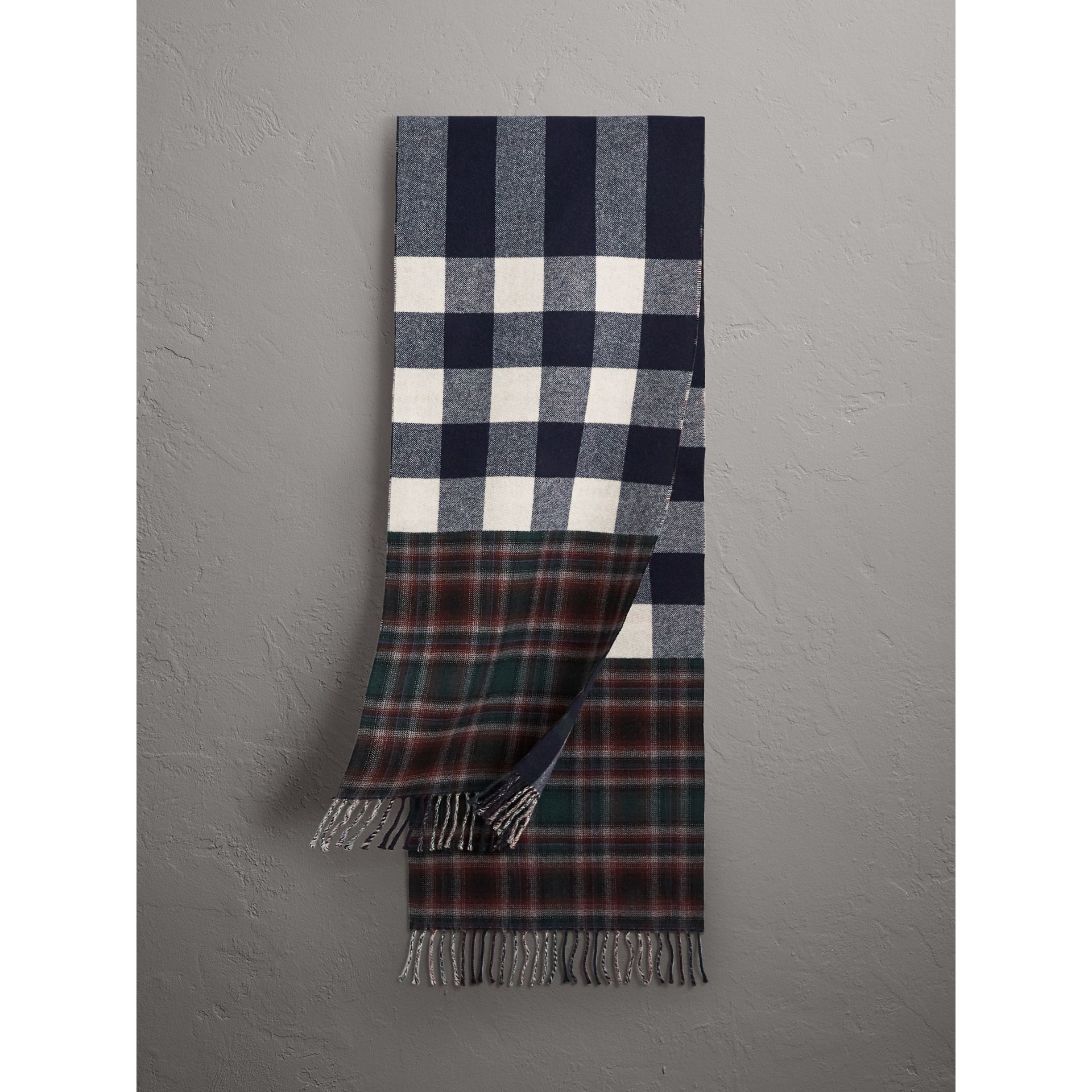 Check Merino Wool Scarf in Navy | Burberry Singapore - gallery image 1