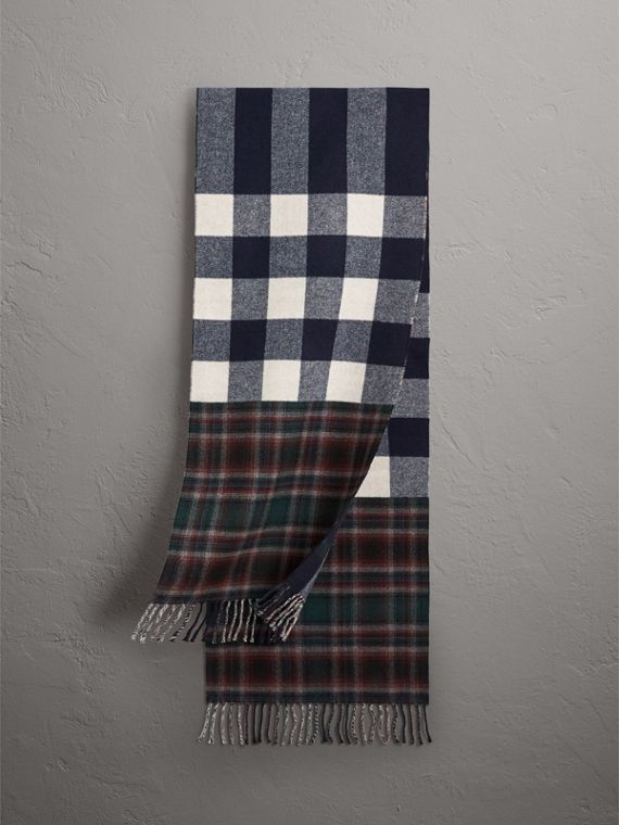 Check Merino Wool Scarf in Navy