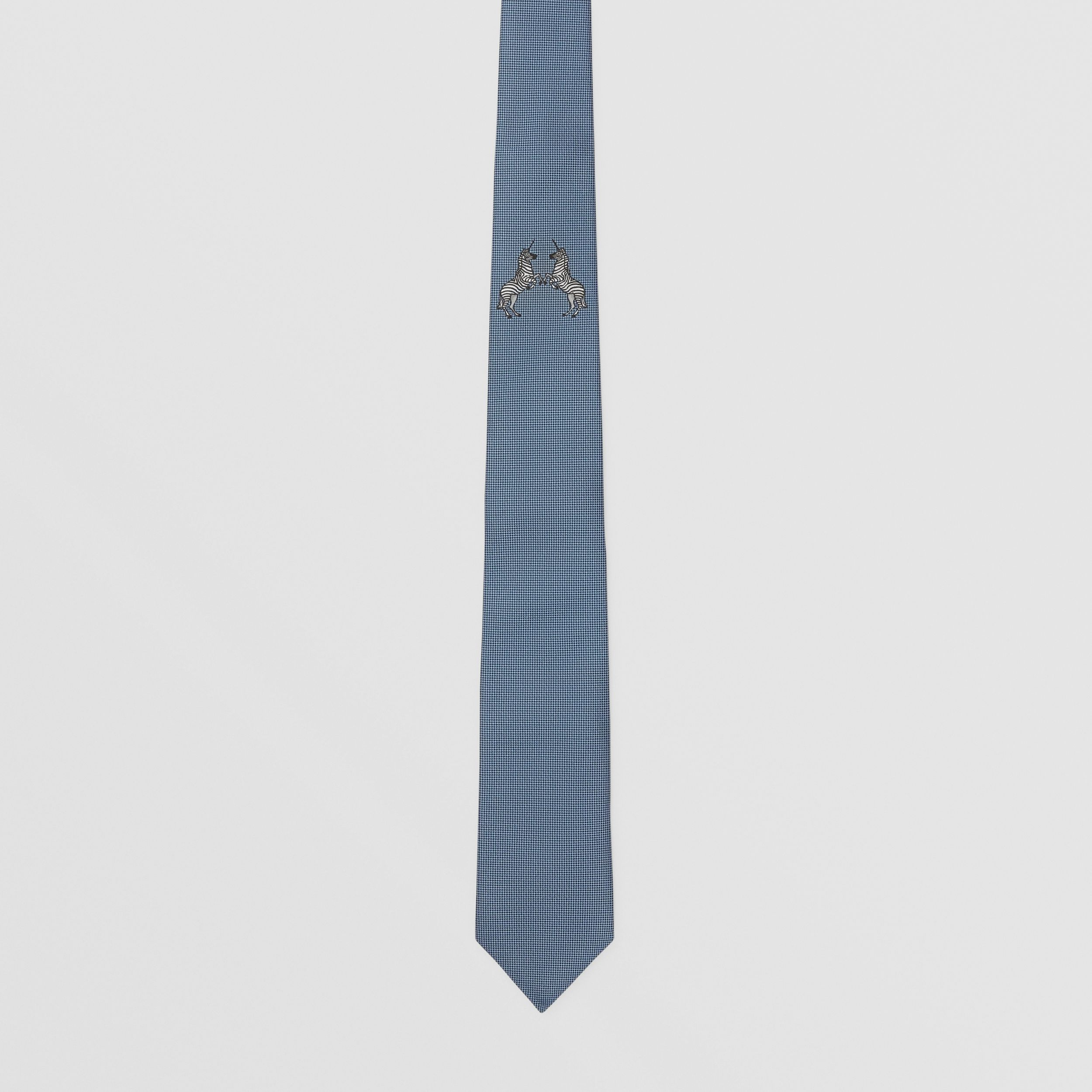 Classic Cut Embroidered Zebra Silk Tie in Dusty Bluebell - Men | Burberry United States - 4