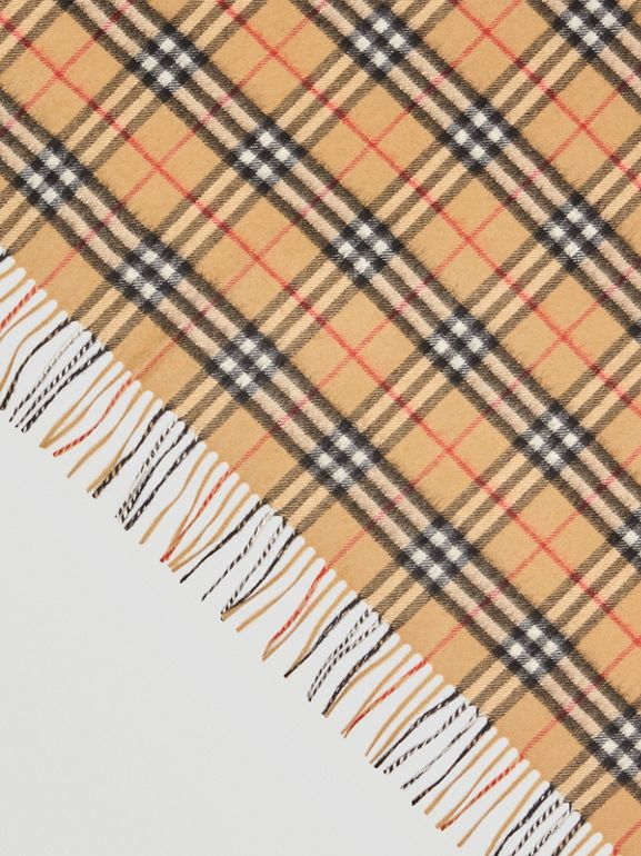 The Burberry Bandana in Vintage Check Cashmere in Antique Yellow | Burberry Australia - cell image 1