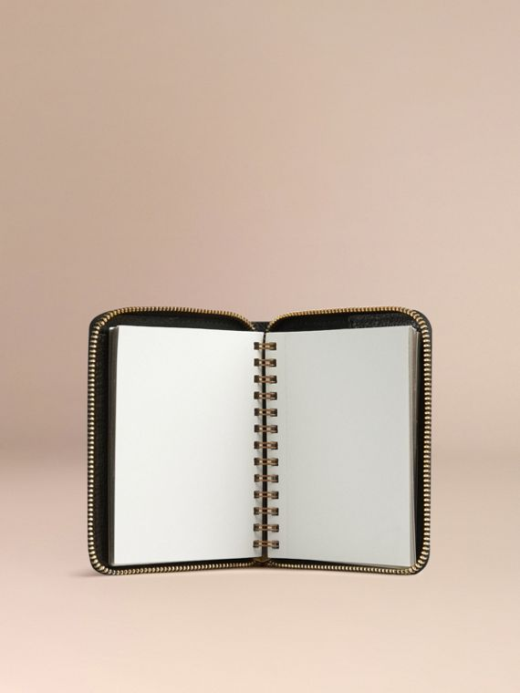 Ziparound Grainy Leather Mini Notebook in Black | Burberry - cell image 2