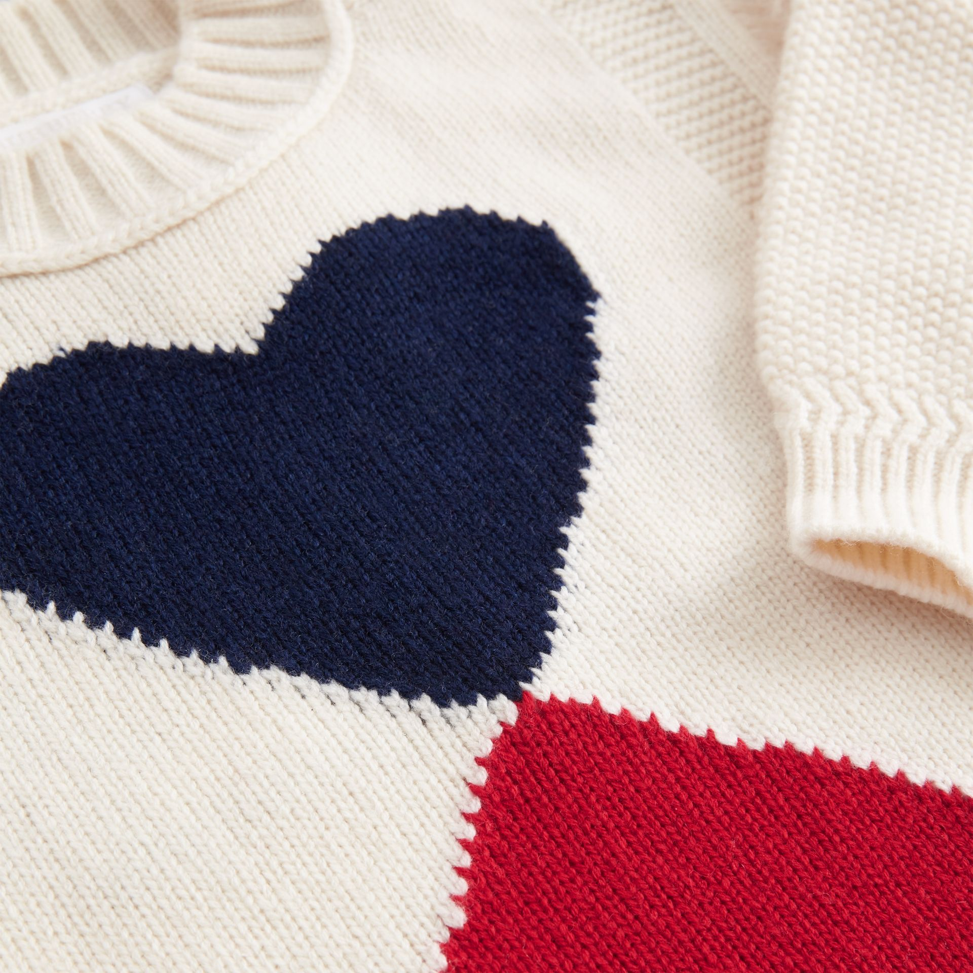 Double Heart Intarsia Wool Cashmere Sweater in Ivory | Burberry - gallery image 1