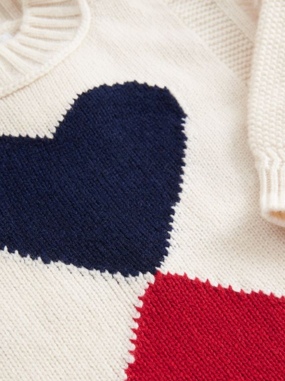 Double Heart Intarsia Wool Cashmere Sweater in Ivory | Burberry - cell image 1