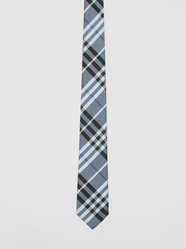 Classic Cut Vintage Check Silk Tie in Light Steel Blue - Men | Burberry - cell image 3