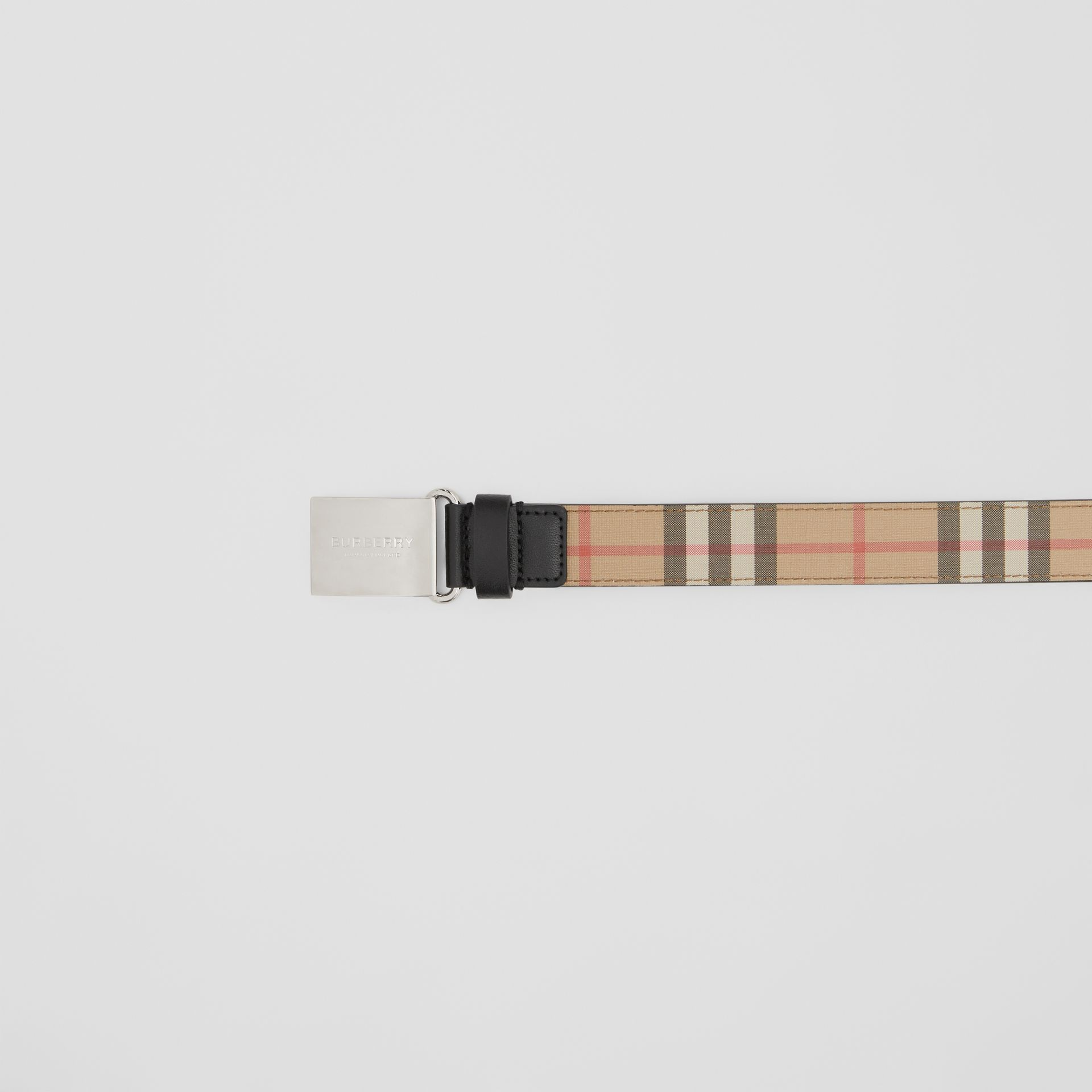 Plaque Buckle Vintage Check E-canvas Belt in Archive Beige - Children | Burberry Australia - gallery image 1