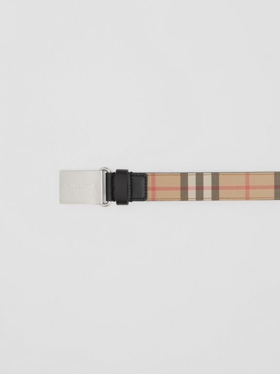 Plaque Buckle Vintage Check E-canvas Belt in Archive Beige - Children | Burberry Australia - cell image 1