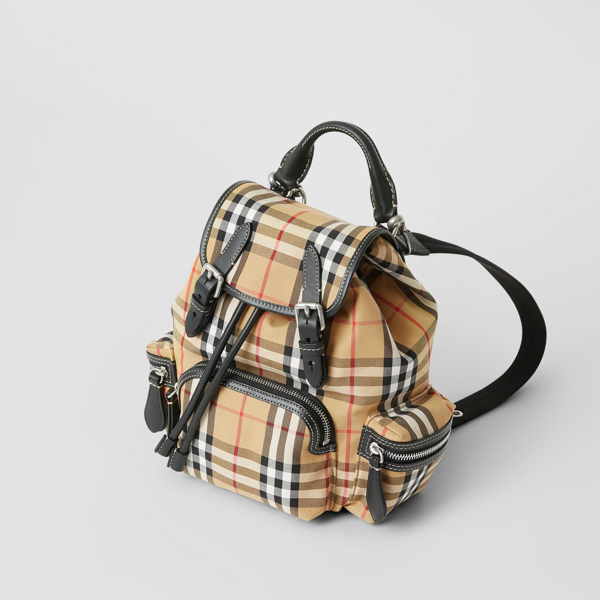 The Small Rucksack in Vintage Check and Leather in Antique Yellow - Women | Burberry Singapore - gallery image 0