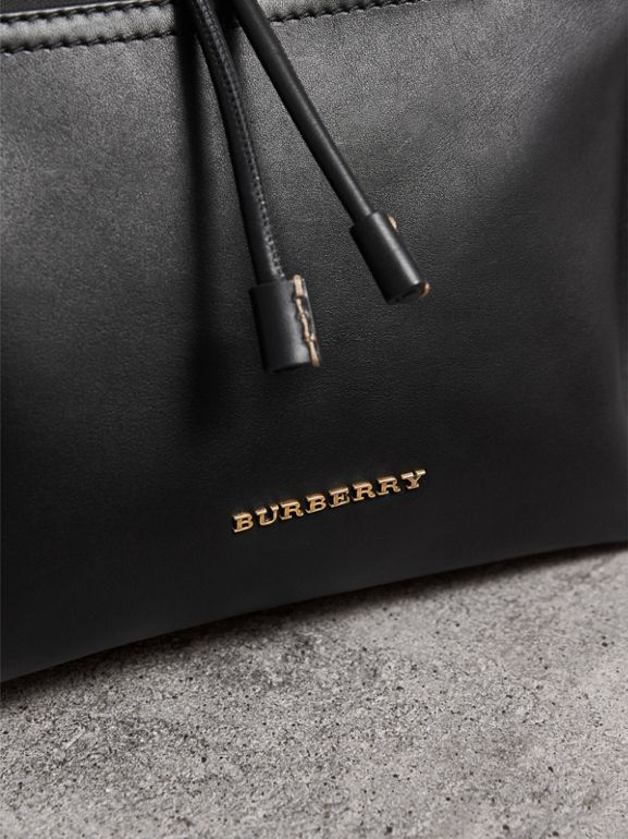 The Large Rucksack in Topstitched Leather in Black | Burberry - cell image 1