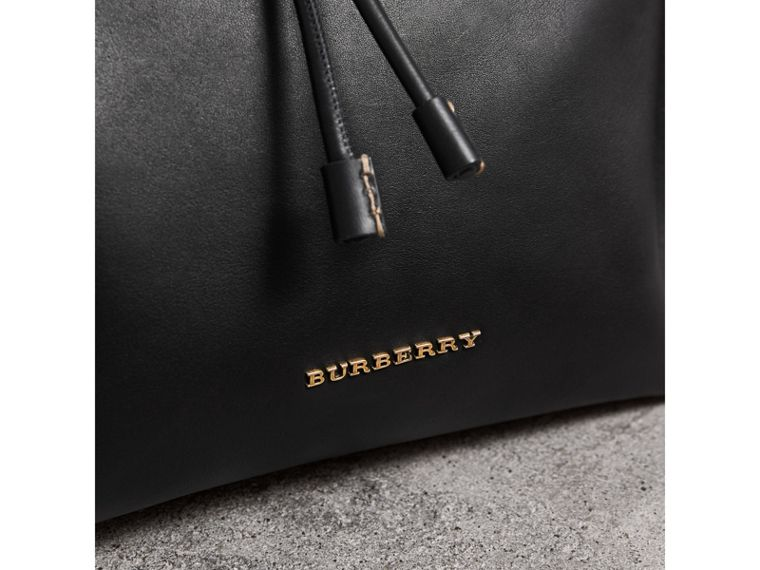 The Large Rucksack in Topstitched Leather in Black - Men | Burberry - cell image 1