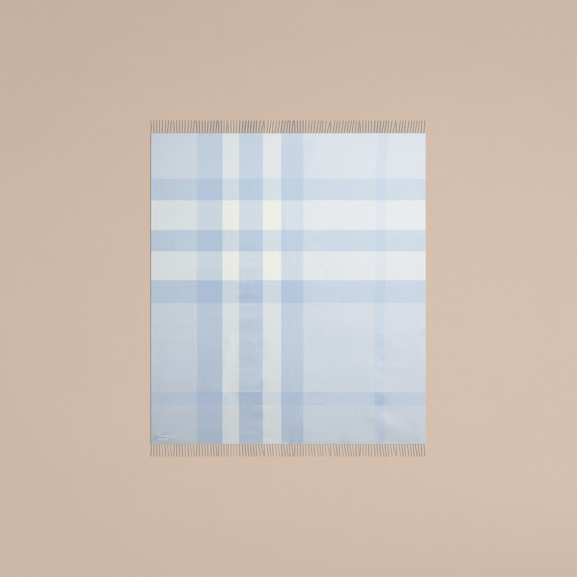 Ice blue Check Merino Wool Baby Blanket Ice Blue - gallery image 4