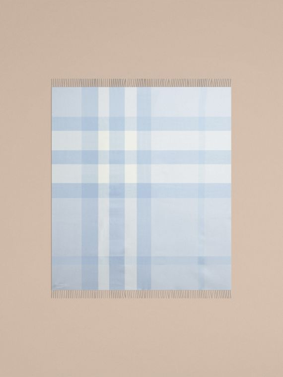 Ice blue Check Merino Wool Baby Blanket Ice Blue - cell image 3