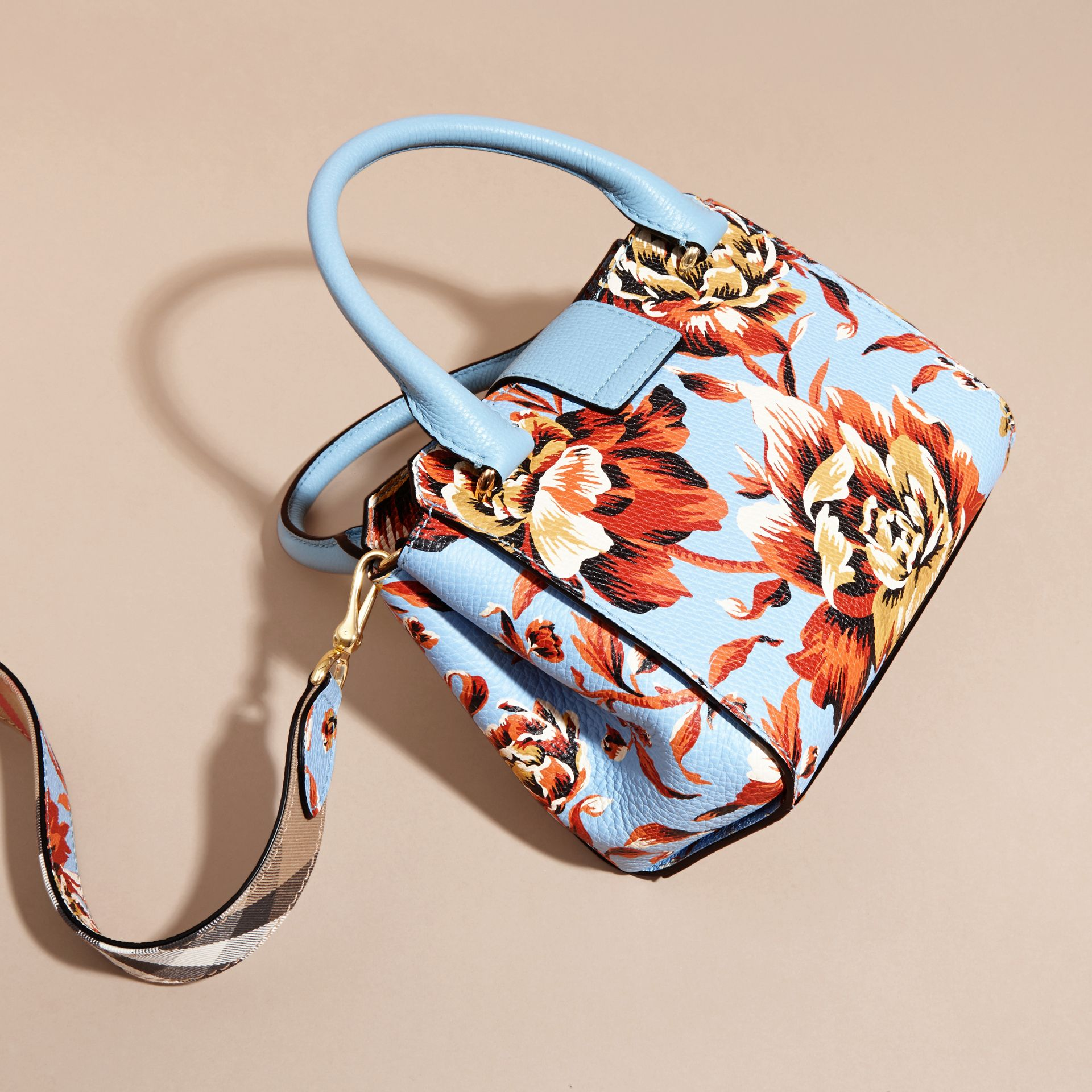 Pale blue/vibrant orange The Small Buckle Tote in Peony Rose Print Leather Pale Blue/vibrant Orange - gallery image 5