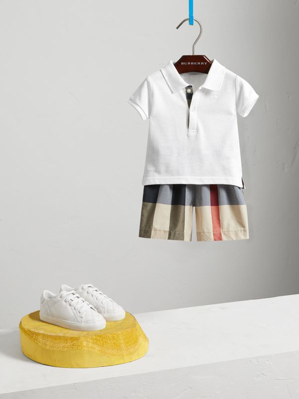 Check Technical Cotton Swim Shorts in New Classic - Children | Burberry - cell image 2