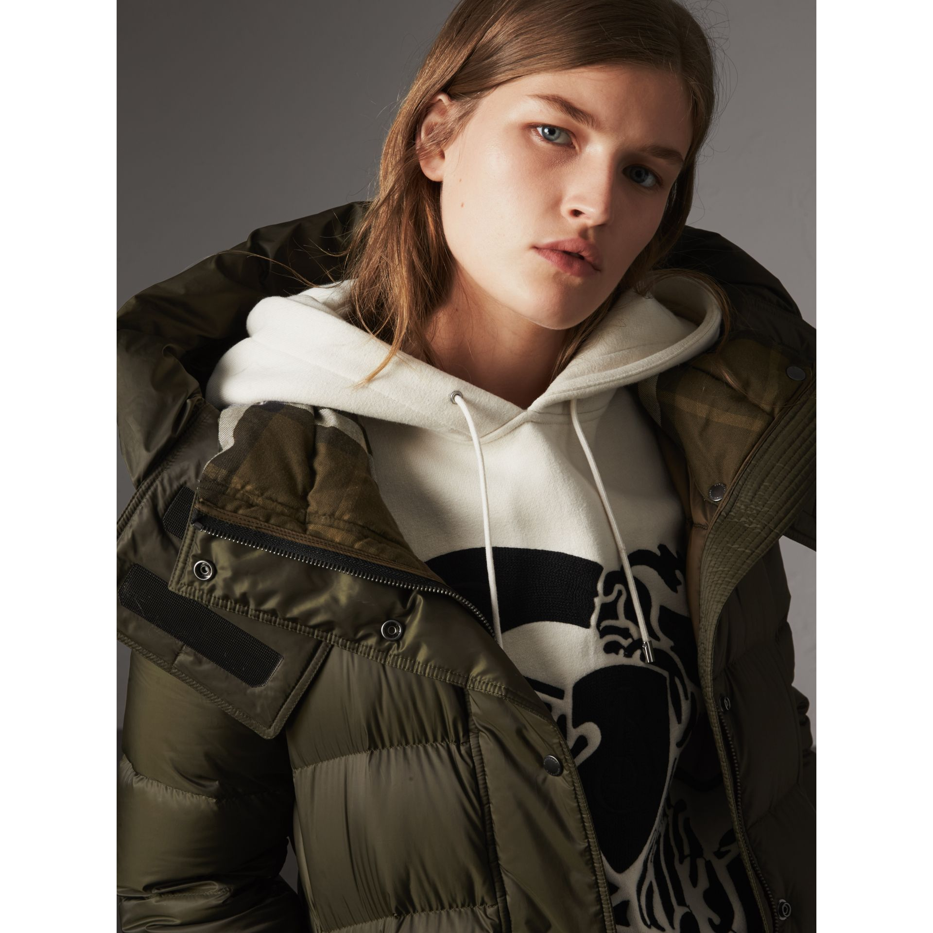 Detachable Hooded Down-filled Puffer Coat in Olive - Women | Burberry - gallery image 1
