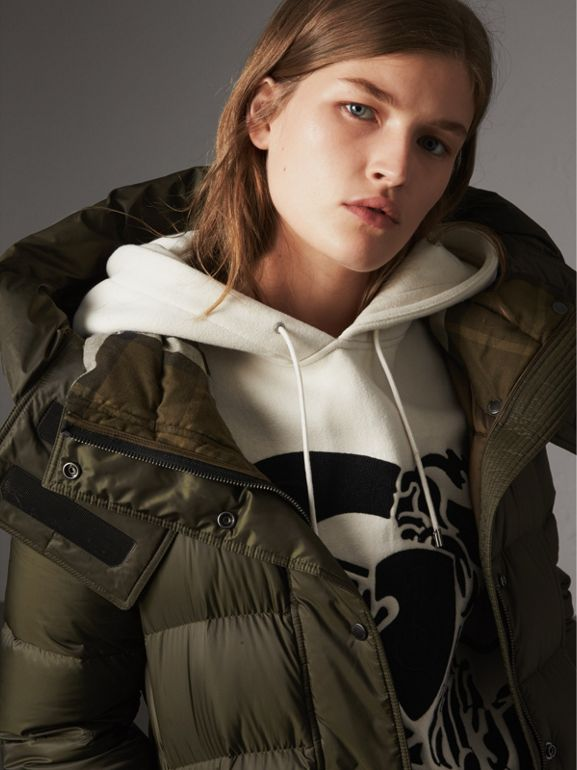 Detachable Hooded Down-filled Puffer Coat in Olive - Women | Burberry - cell image 1