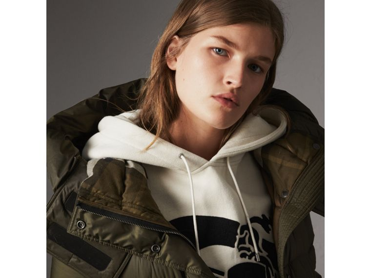 Detachable Hooded Down-filled Puffer Coat in Olive - Women | Burberry United States - cell image 1