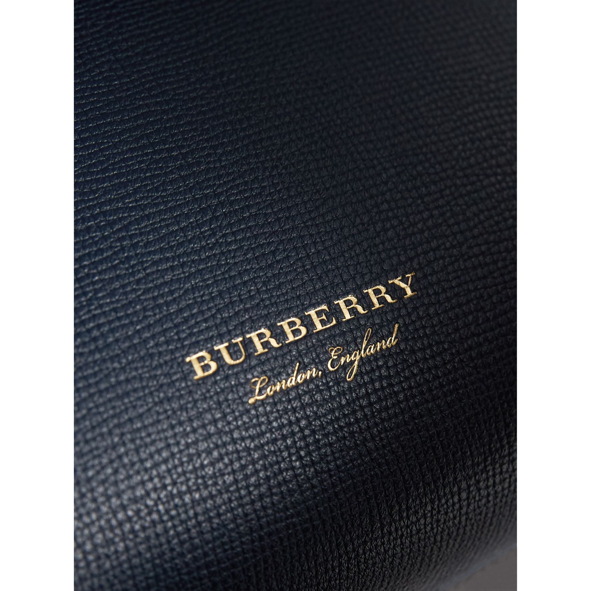 Small Grainy Leather and House Check Tote Bag in Ink Blue - Women | Burberry Canada - gallery image 1