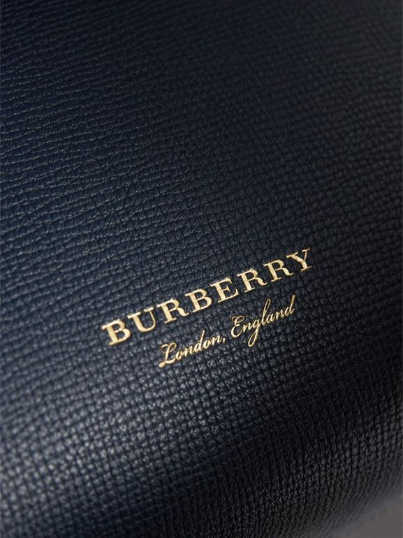 Small Grainy Leather and House Check Tote Bag in Ink Blue - Women | Burberry Canada - cell image 1