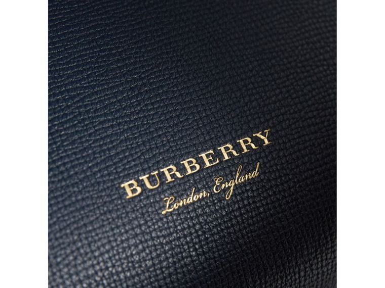 Small Grainy Leather and House Check Tote Bag in Ink Blue - Women | Burberry Hong Kong - cell image 1