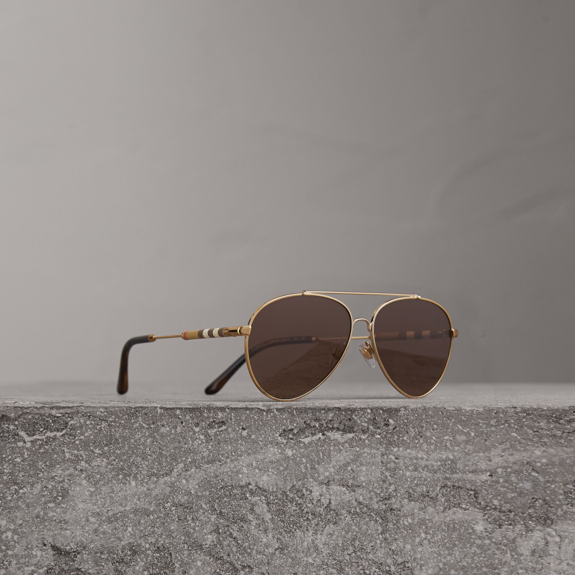 Check Detail Pilot Sunglasses in Pale Gold - Women | Burberry Australia - gallery image 0