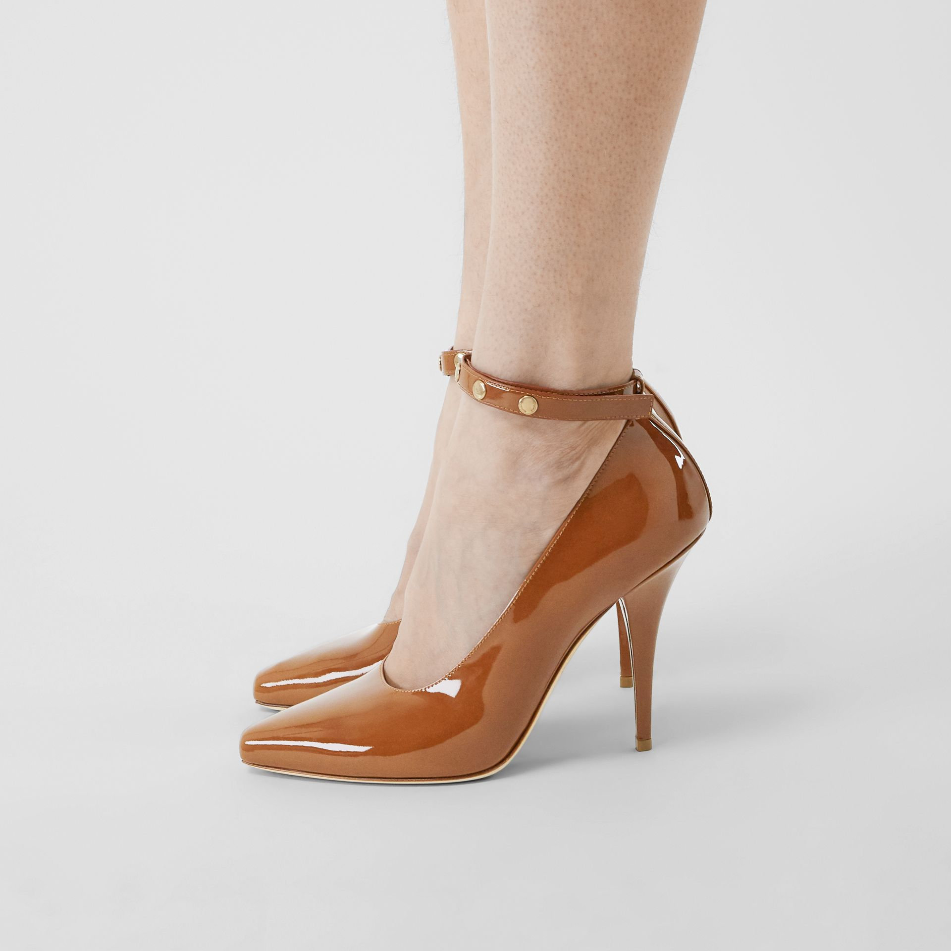 Triple Stud Patent Leather Point-toe Pumps in Tan - Women | Burberry - gallery image 1