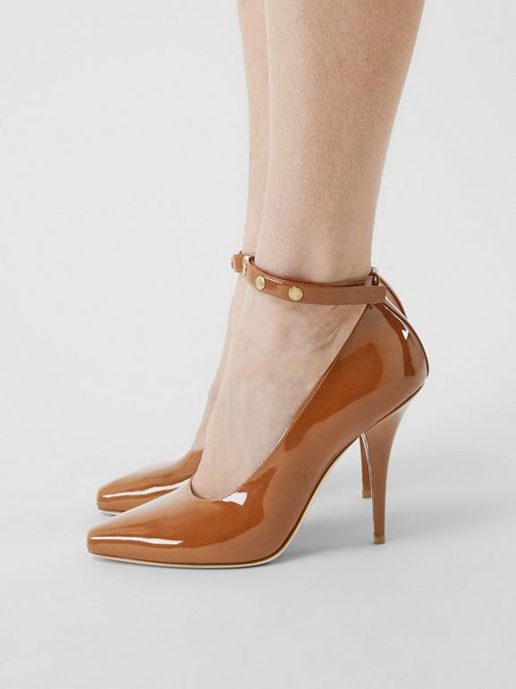 Triple Stud Patent Leather Point-toe Pumps in Tan - Women | Burberry - cell image 1