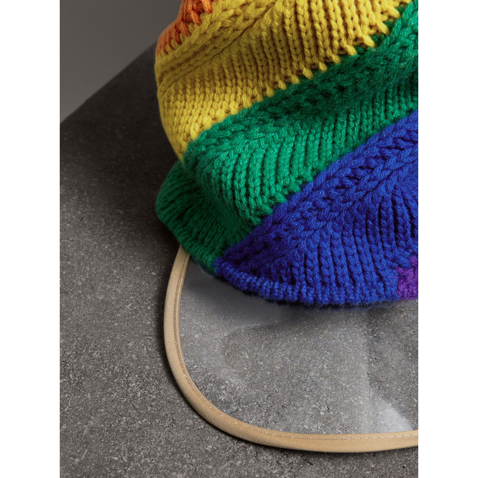 Rainbow Wool Cashmere Peaked Beanie | Burberry United Kingdom - gallery image 1