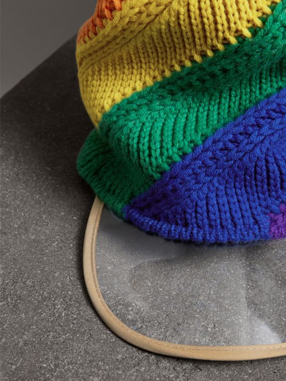 Rainbow Wool Cashmere Peaked Beanie | Burberry United Kingdom - cell image 1