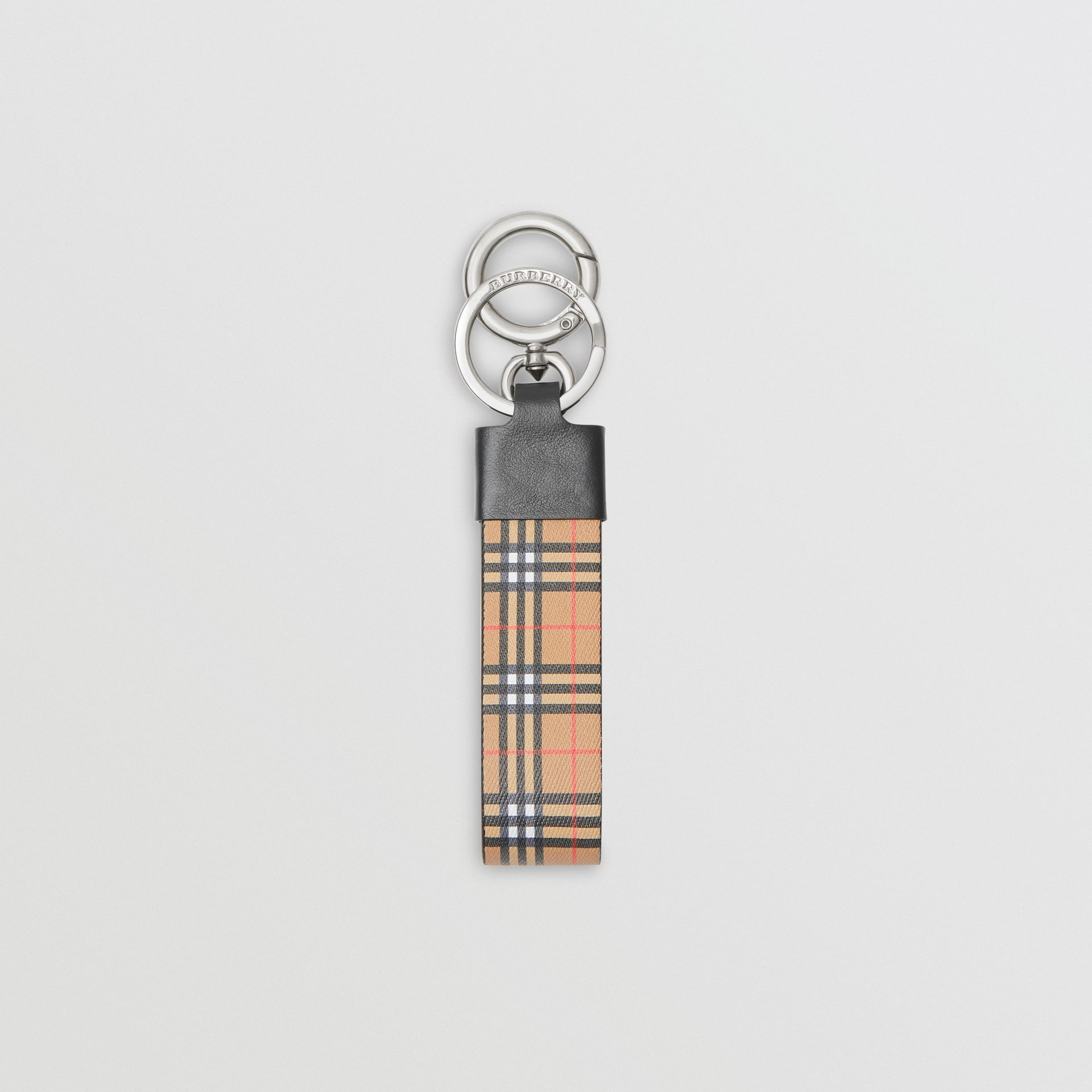 Small Scale Check and Leather Key Ring in Antique Yellow - Men | Burberry Australia - gallery image 0