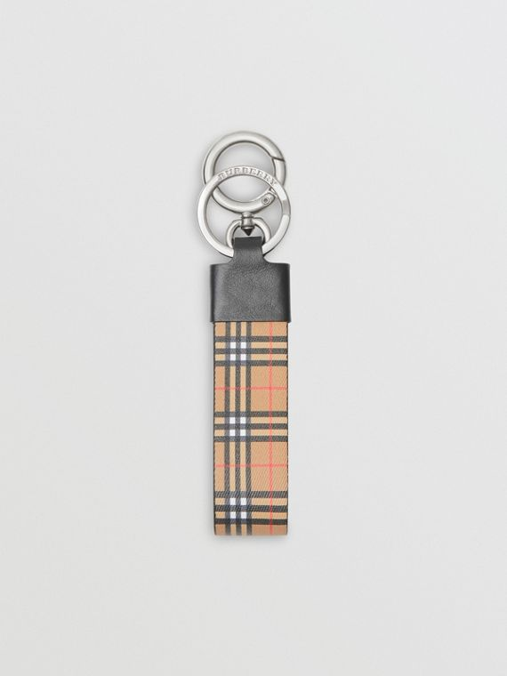 Small Scale Check and Leather Key Ring in Antique Yellow