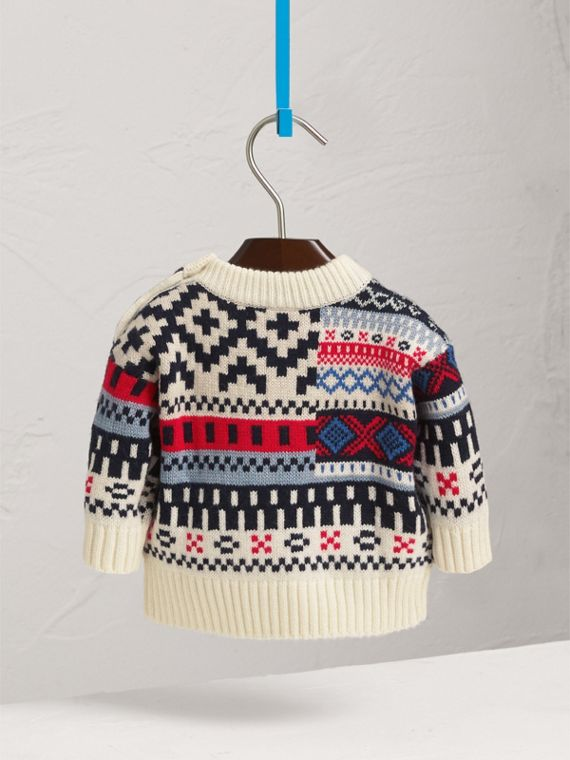 Fair Isle Wool Cashmere Patchwork Sweater in Pewter Blue | Burberry - cell image 3