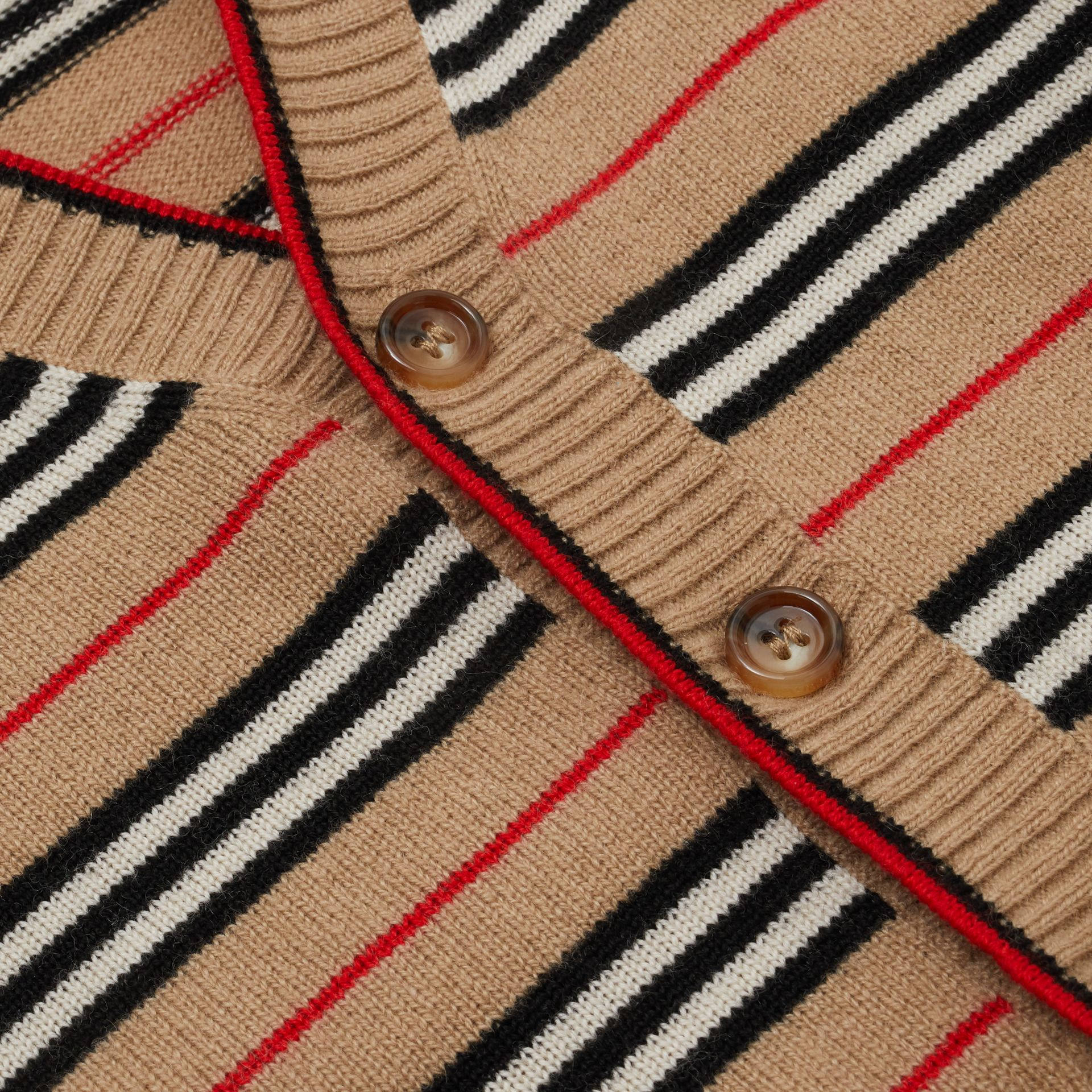 Icon Stripe Wool Cashmere Cardigan in Archive Beige - Children | Burberry United Kingdom - gallery image 1