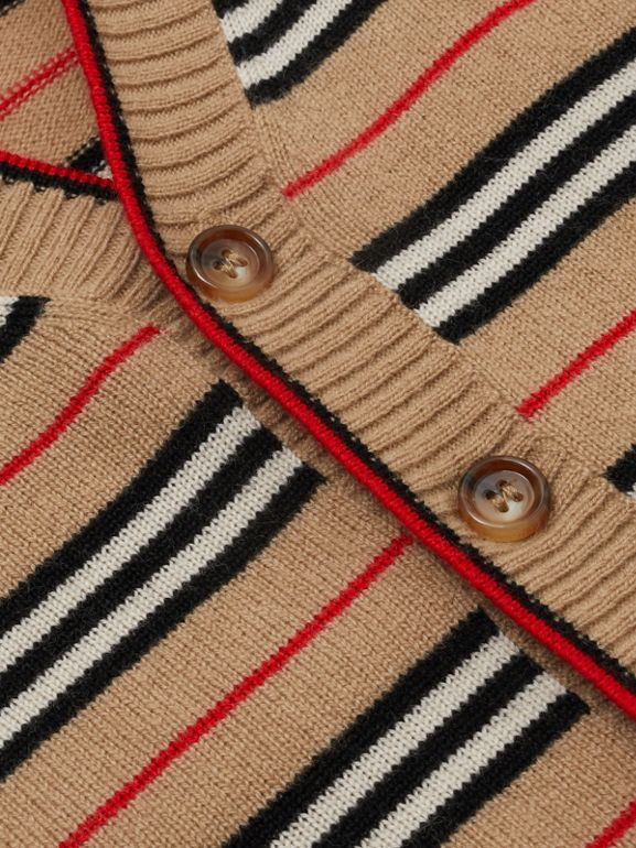 Icon Stripe Wool Cashmere Cardigan in Archive Beige - Children | Burberry United Kingdom - cell image 1
