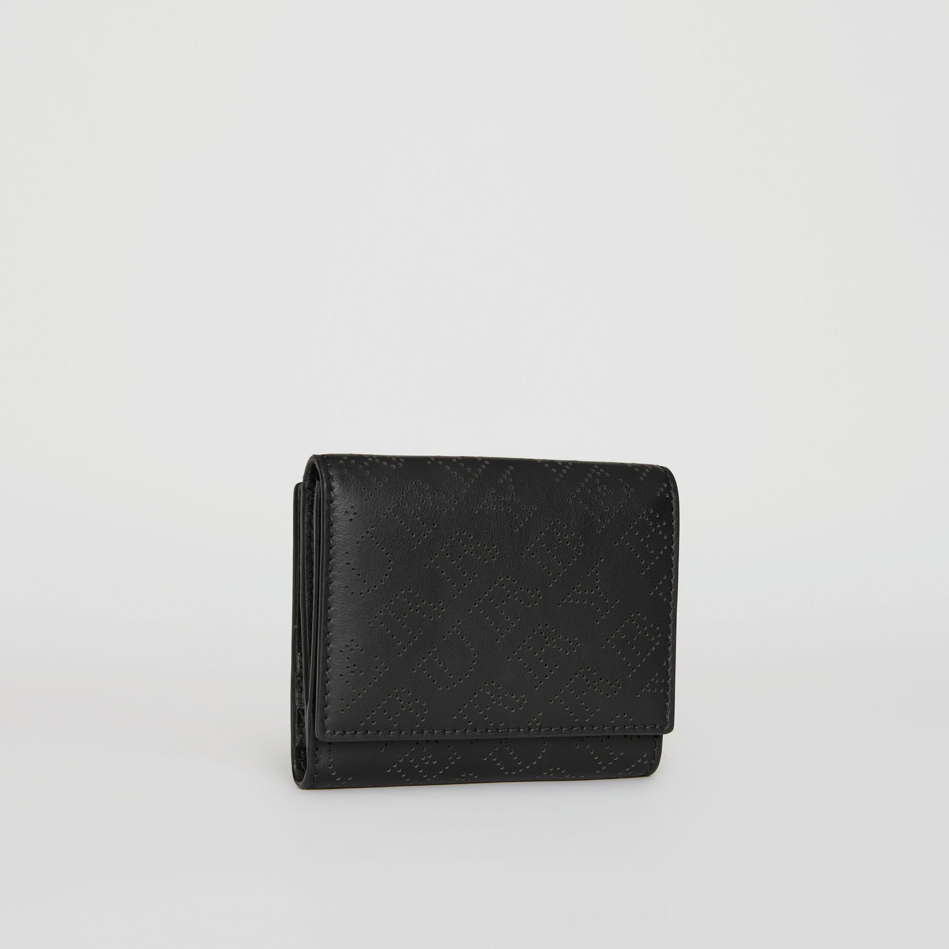 Small Perforated Logo Leather Wallet in Black - Women | Burberry - gallery image 3