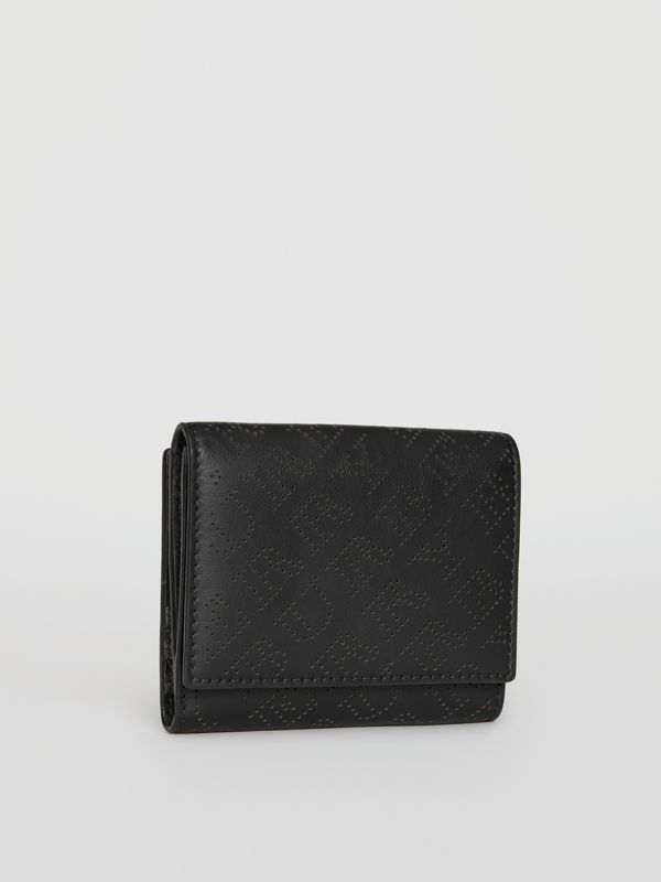 Small Perforated Logo Leather Wallet in Black - Women | Burberry Singapore - cell image 3