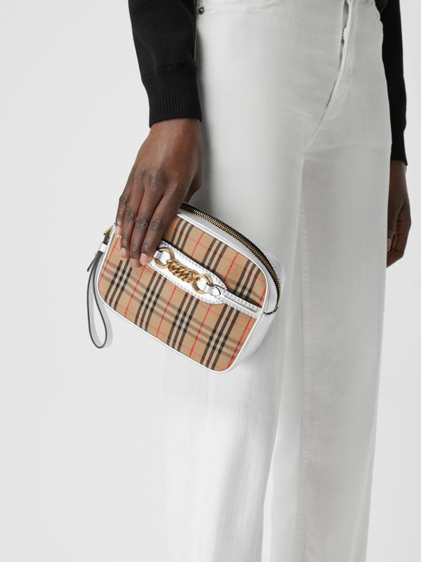 The 1983 Check Link Bum Bag with Leather Trim in Silver - Women | Burberry - cell image 3