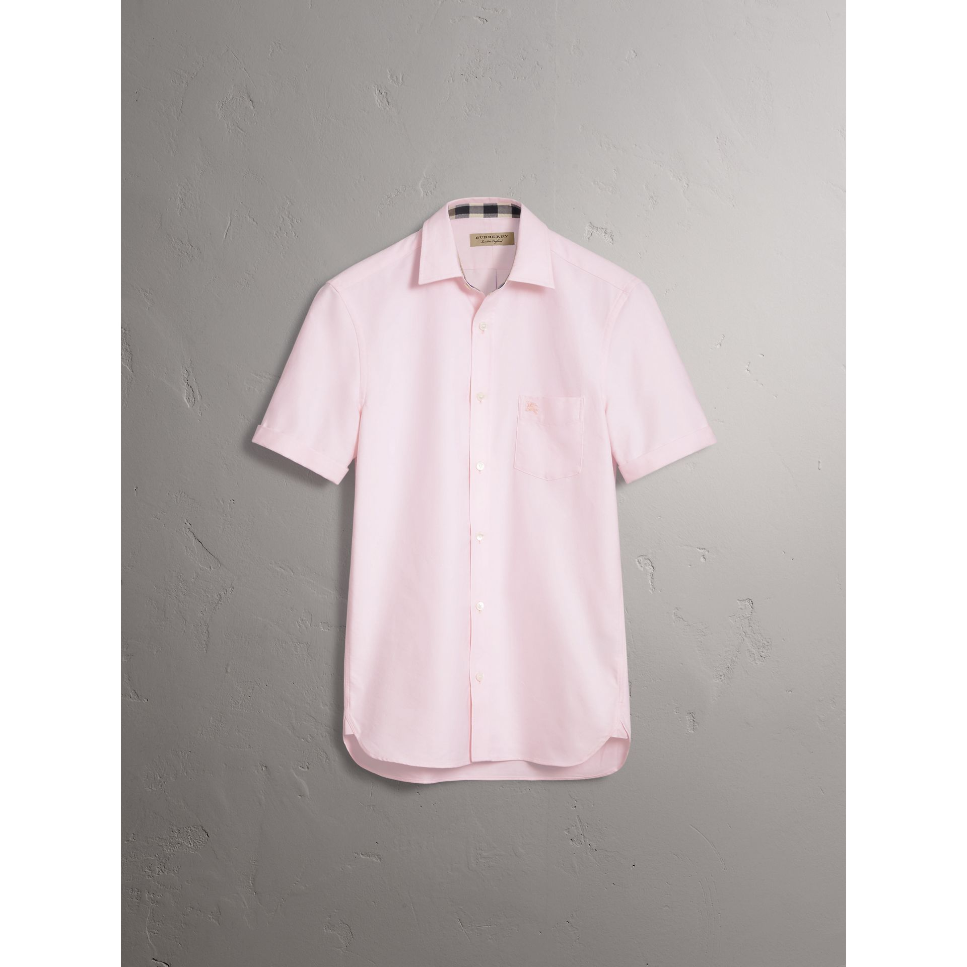 Check Detail Short-Sleeved Cotton Oxford Shirt in Pale Pink - Men | Burberry Hong Kong - gallery image 4