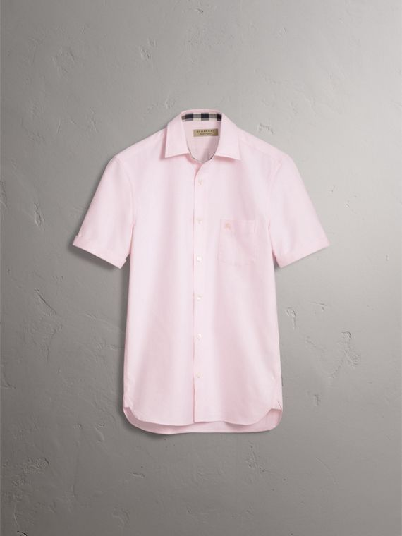 Check Detail Short-Sleeved Cotton Oxford Shirt in Pale Pink - Men | Burberry Singapore - cell image 3