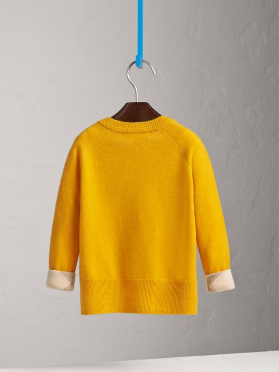 Check Cuff Cashmere Sweater in Amber Yellow - Girl | Burberry Singapore - cell image 3