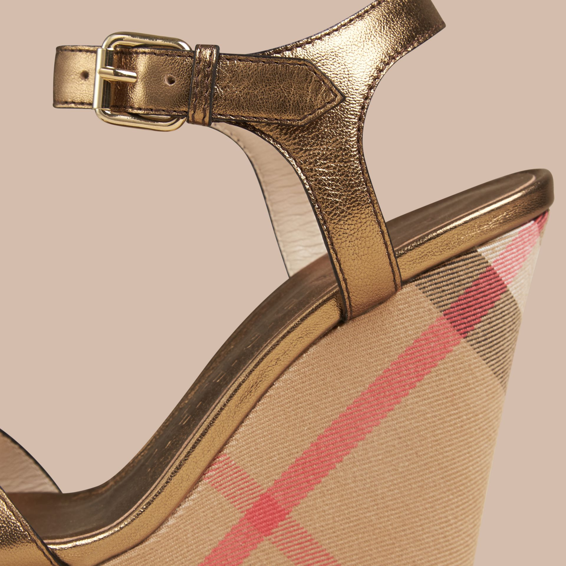 Heritage gold House Check and Metallic Leather Wedge Sandals - gallery image 4