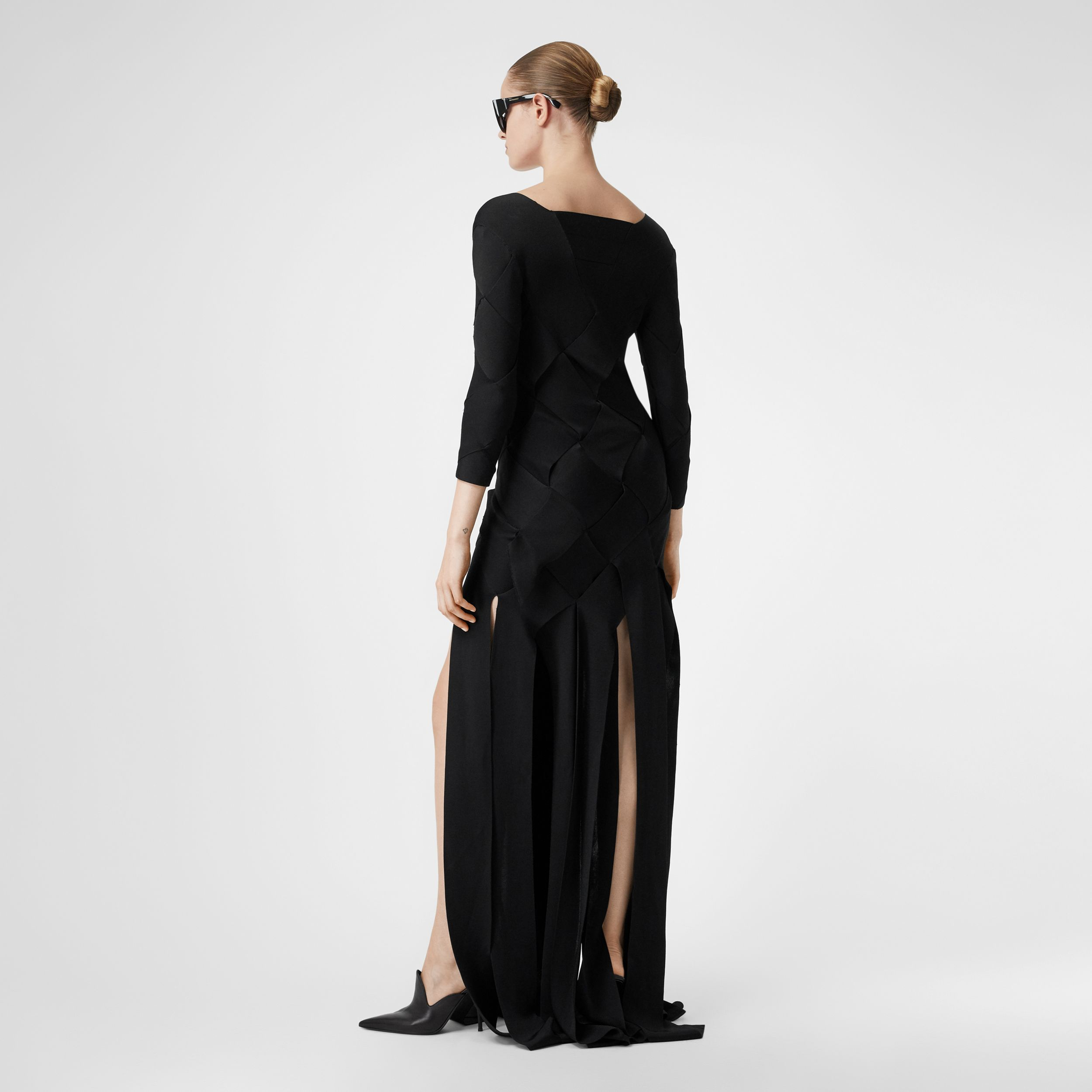 Long-sleeve Panelled Knit Gown in Black - Women | Burberry - 3