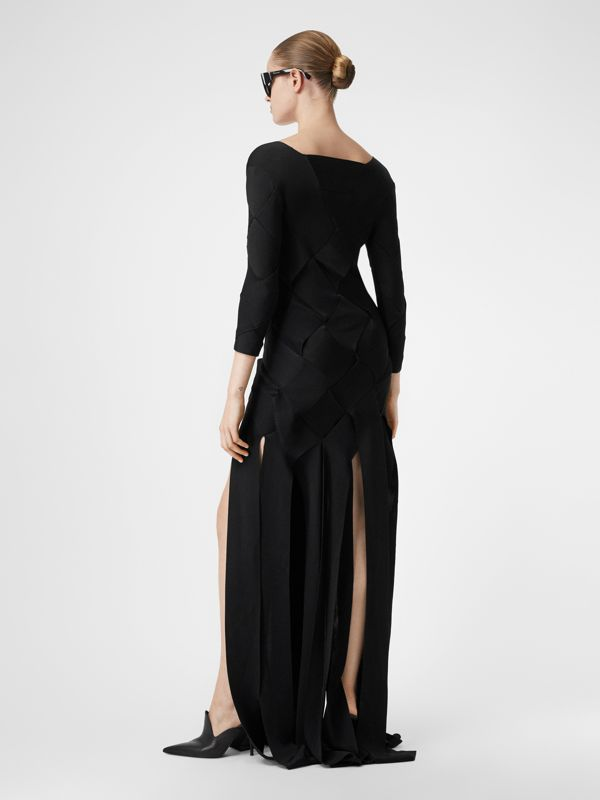 Long-sleeve Panelled Knit Gown in Black - Women | Burberry United Kingdom - cell image 2