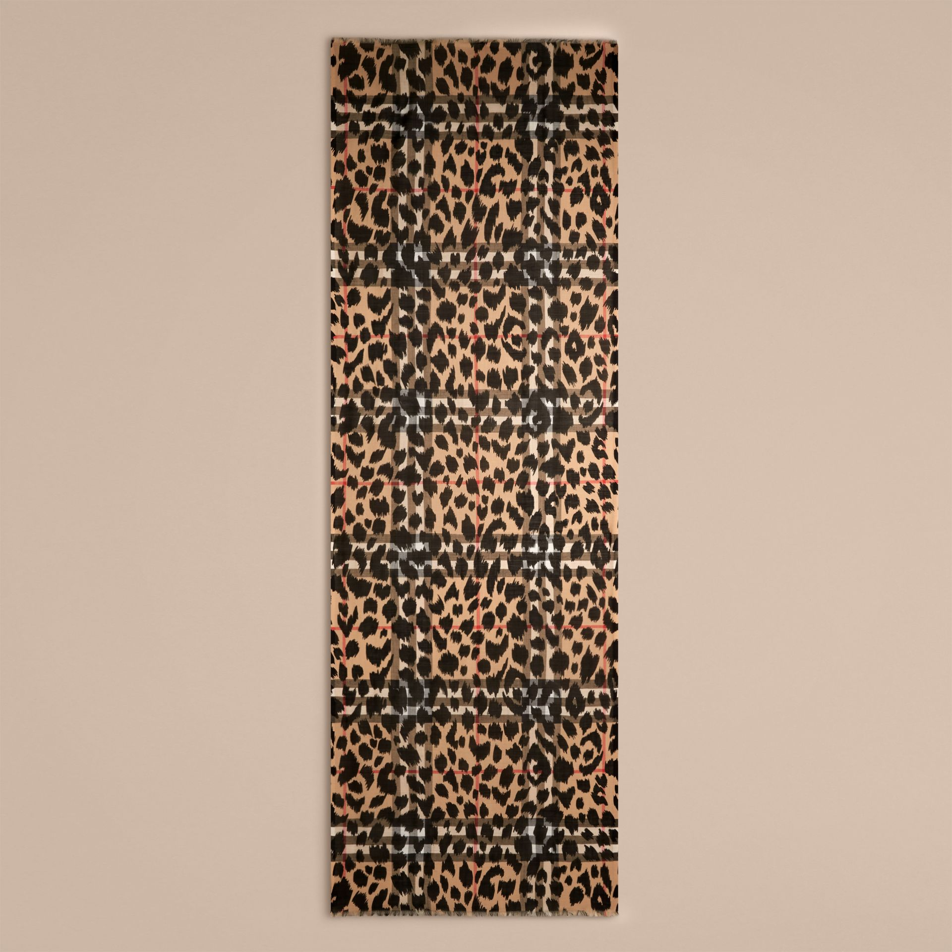Camel/black Animal Print and Check Wool Silk Scarf Camel/black - gallery image 4