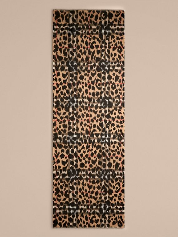 Camel/black Animal Print and Check Wool Silk Scarf Camel/black - cell image 3