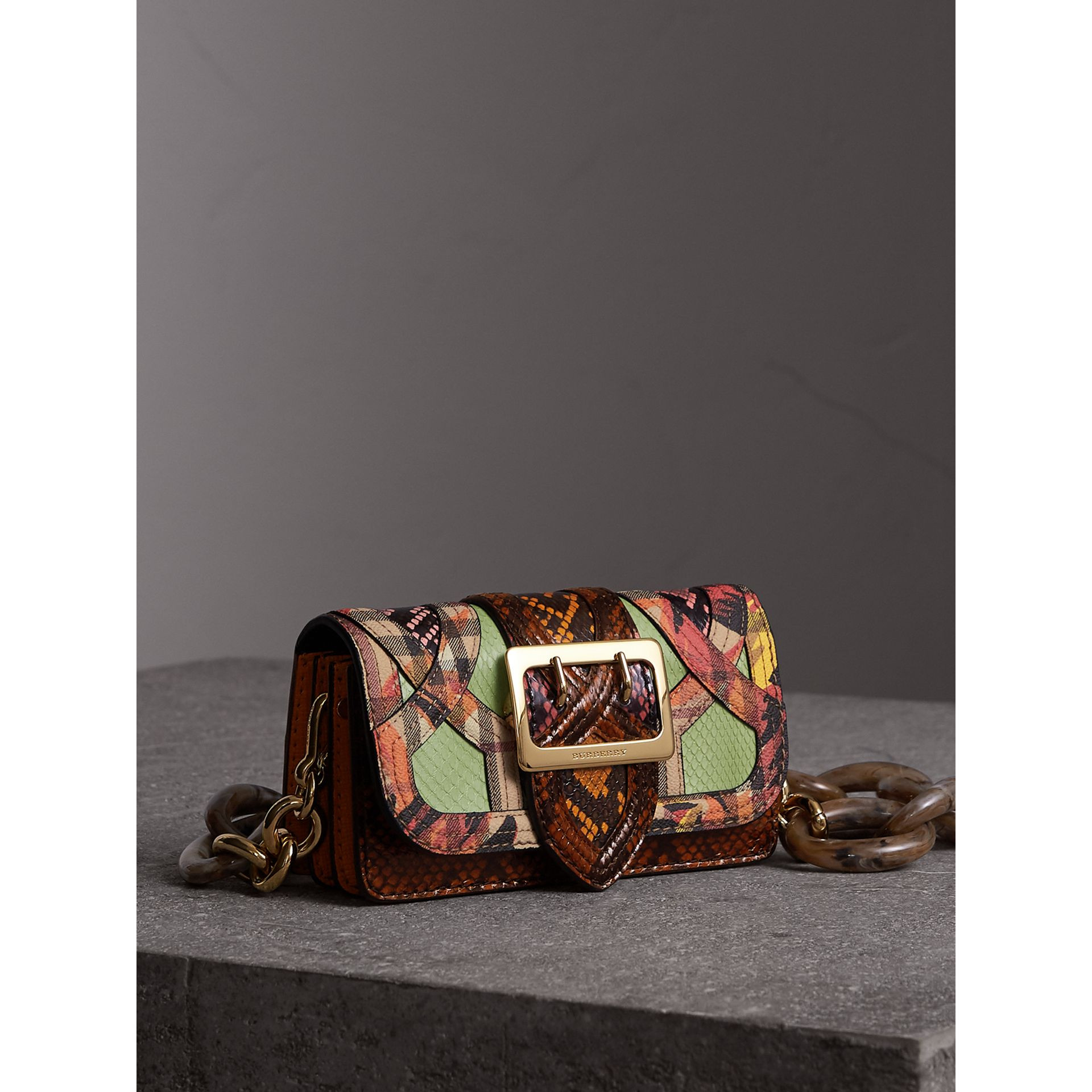 The Small Buckle Bag in Snakeskin and Floral Print in Pale Green - Women   Burberry - gallery image 8